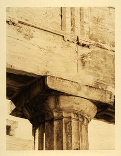 1926 Acropolis Propylaea Capital Column Athens Greece - ORIGINAL GRC3