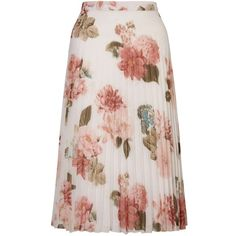 Miss Selfridge Floral Print Pleat Midi Skirt ($40) ❤ liked on Polyvore featuring skirts, bottoms, floral, saias, assorted, pleated skirt, floral printed skirt, floral knee length skirt, knee length pleated skirt and flower print midi skirt
