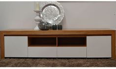 Baye Entertainment Unit Available in Engineered Marri and Jarrah 2 Solid Doors and 2 Drawers with White or Black fronts 2200 x 500 x High WA Made White Entertainment Unit, Lowline Tv Unit, Built In Tv Cabinet, Tv Wall Decor, Wall Tv, Modern Tv Wall, Tv Unit Design, Solid Doors, Tv Cabinets