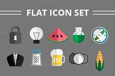 Check out Flat Icon Set by Mihaly on Creative Market