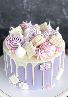 Candy Birthday Cakes, Elegant Birthday Cakes, Beautiful Birthday Cakes, Beautiful Cakes, Girls 21st Birthday Cake, Purple Birthday Cakes, Colorful Birthday Cake, Birthday Cake For Him, Purple Cakes