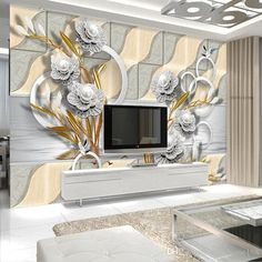 flowers living dimensional embossed render three mural stylish paper 5d murals woven sofa non wallpapers