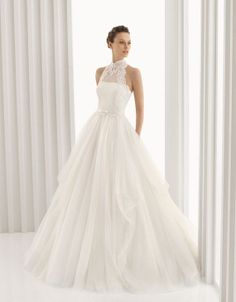 High-end customized turtleneck bride gown organza and lace wedding dress A line white ivory wedding gown custom size