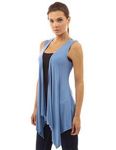PattyBoutik Women s Waterfall Cascading Vest Cardigan (Steel Blue M)  Lightweight Jacket 778dd1ab0