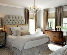 Great mix: tufted HB, beautiful chest of drawers, light fixture, colors/pallet