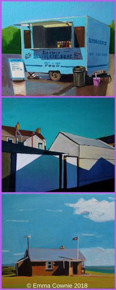 """Three contemporary paintings of Wales """"cymricana"""" by artist Emma Cownie"""
