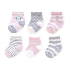 "Carter's Girls 6 Pack Pink/Grey Socks - 0-3 Months - Carters  - Babies""R""Us"