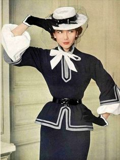 1950 Sylvie Hirsch in navy blue and white ensemble by Pierre Balmain, photo by Philippe Pottier