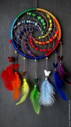 Купить или заказать Ловец снов 'Радуга' в интернет-магазине на Ярмарке Мастеров. Ловец снов Радуга - самые яркие сны, буйство красок, лето, тепло, солнце, цветы, пение птиц, гора самоцветов, любовь, радость, поющая от счастья душа) Спать под таким одно удовольствие, для людей не стареющих…