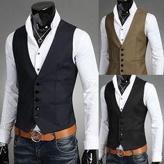 Details about Men Business Jacket Suit Slim Fit Vest Top Casual Business Formal Vest Waistcoat - Suit Fashion Formal Vest, Casual Formal Dresses, Casual Outfits, Mens Dress Outfits, Men In Dresses, Dress Casual, Mens Suit Vest, Mens Suits, Black Suit Vest