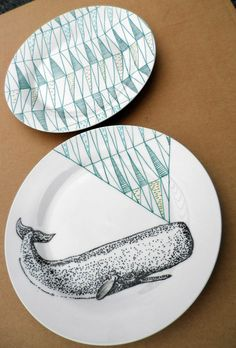 I think I want to start collecting plates for decor. Sperm Whale Geometric Design Plates hand illustrated porcelain by Per Dozen Design