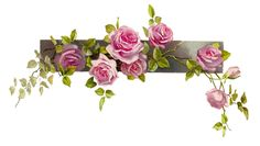 Free Flower Graphic: Vintage Pink Rose Clip Art Branch and Leaves...this would be great at the top of a handmade card!