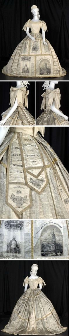 Costume for fancy dress ball, Mrs. Dobbs, Melbourne, 1866. Cream-colored silk satin, lined in cotton, with linen pocket. White satin panels of skirt were printed with pages from 13 Melbourne newspapers, including the Age, Argus, Herald, Australasian, Leader Illustrated Australian News, & Punch. Slips inserted between panels show titles of all newspapers. Metal trim or ribbon added to cover skirt seams. Ribbon trim is cotton warp & gold alloy wire weft. Australian Dress Register