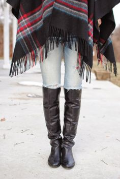 Fringe Cape and Black Over The Knee Boots