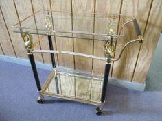 brass & black tea cart with Swans