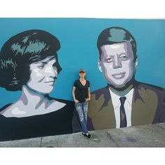 #ElisabettaFantone Elisabetta Fantone: #TheKennedys completed. One end of the approx. 50ft long #mural I painted in #Wynwood for #ArtBasel #Miami #elisabettafantone #JackieO #JFK