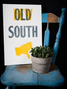 New South - Old Try - Letterpress Print
