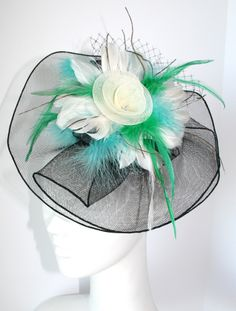 Black, White, Turquoise & green hair fascinator - Inspired by Claire Jane, LLC