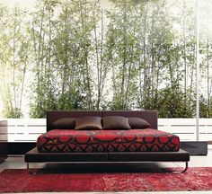 Samsara - Designer Double beds by Cassina ✓ Comprehensive product & design information ✓ Catalogs ➜ Get inspired now Furniture Sets Design, Double Bed Designs, Red Bedding, Luxury House Plans, Contemporary Wallpaper, Luxury Interior Design, Home Decor Accessories, Bedroom Decor, Bedroom Wall