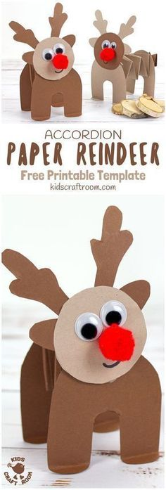 PRINTABLE ACCORDION PAPER REINDEER CRAFT - here's a fun printable reindeer kids can play with. This homemade paper reindeer toy has a simple but cleverly folded body that allows it to stand up and be walked along by little hands. The accordion folds work Christmas Activities For Kids, Easy Christmas Crafts, Christmas Fun, Christmas Cards, Reindeer Christmas, Christmas Wrapping, Christmas Vacation, Country Christmas, Christmas Movies