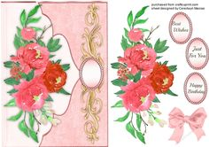 Beautiful Envelope card with  Deep Pink roses   on Craftsuprint designed by…