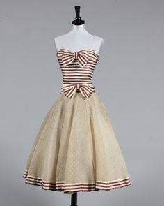 1956 Chanel cocktail dress....omg, stripes and Chanel and vintage! Three of my favorite thins!
