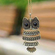 Cute Bronze Owl Pattern Chain Necklace for Sweater , animal accessories jewelry shop at Costwe.com