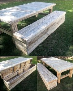 For the lawn, it is a good idea to allow a space for the kids to play. The toys can be placed in the upcycled wood pallet storage bench. The table is huge and the bench is comfortable, anything related to the lawn can be placed in the storage place. Patio Storage Bench, Diy Bench, Bench With Storage, Epoxy Resin Table, Wood Pallets, Recycled Pallets, Old Wood, Pallet Furniture Plans, Home Furniture