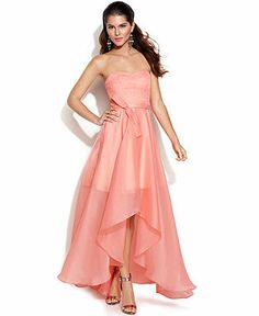 JS Boutique Strapless Lace-Bodice High-Low Gown - Juniors Prom Dresses - Macy's