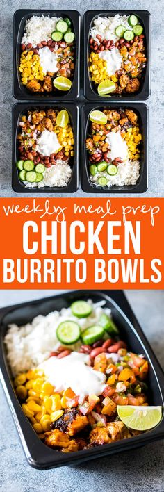 Easy Chicken Burrito Meal Prep Bowls | Healthy Meal Prep Lunch for the week | Meal Prep Recipes for the week | Meal Prep Ideas | Mexican | Gluten Free | Can be low carb
