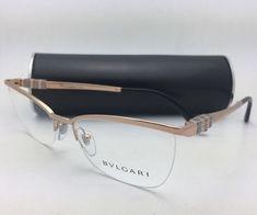 438abe48646e New BVLGARI Eyeglasses 2175 376 55-17 140 Pink Gold Semi-Rimless Half-Rim  Frame