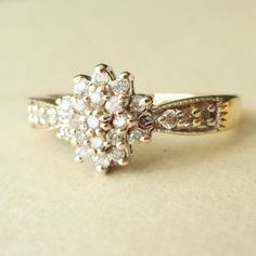 Vintage Engagement Ring, 9k Gold Diamond Flower Cluster Ring, Diamond & Gold Wedding Ring Approximate Size US 4.75 / 5