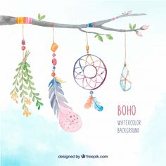 Branch background with decorative boho watercolor elements Free Vector Dreamcatcher Wallpaper, Hippie Stil, Dream Catcher Art, Watercolor Background, Watercolour, Watercolor Feather, Watercolor Plants, Laptop Wallpaper, Boho Baby