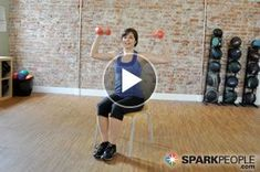 Nursing a lower body injury? This chair-based workout for the upper body strength-training routine is a great way to stay in shape! 9-Minute Seated Arm and Shoulder Video   via @SparkPeople #fitness #exercise