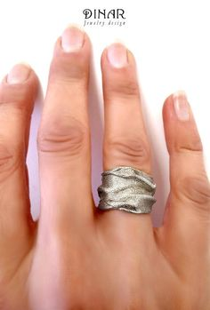 Wide Silver wedding band hand forged Organic texture silver