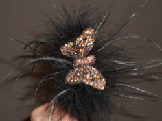 Brown Cloth Butterfly Headband (side view)