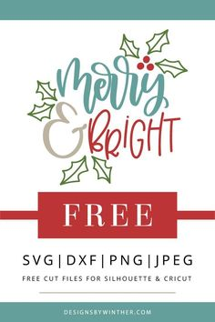 Free merry and bright Christmas svg cut file for silhouette and Cricut. Make some super cute Christmas DIY projects with this free svg cut file. Use for things such as mugs tea towels home decor printables ornaments clothes and more. Free Svg Cut Files, Svg Files For Cricut, Free Cut Files For Silhouette, Christmas Svg, Christmas Projects, Christmas Shirts, Christmas Decorations, Christmas Labels, Christmas Clothes
