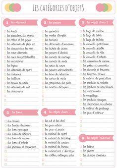 Declutter worksheet: the list of categories of objects Fiche de désencombrement : la liste des catégories d& Declutter worksheet: the list of categories of objects