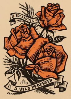 Exlibris ~ Wood engraving ~ Antal Fery (Hungary, 1908-1993) In 1935 he received his diploma as a graphic artist. Antal Fery's first woodcut was created in 1939 and his first one man exhibition was held at the Art Gallery of Budapest in 1943. During his career Fery created over 2000 bookplates, all in the woodcut medium.