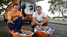 CLEAN WINNERS: Nic Marchesi and Lucas Patchett have set up Orange Sky Laundry in Cairns.