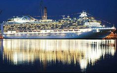 My ship the Emerald princess at night