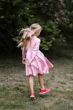 Classic Dress for Girls, Long sleeves, Pink