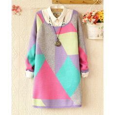 New Sweet Round Neck Color Geometry Sweater&Cardigan for only $33.00 ,cheap Sweaters & Cardigans - Clothing & Apparel online shopping,New Sweet Round Neck Color Geometry Sweater&Cardigan