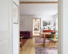 """The walls are Farrow & Ball """"Wimborne White"""" and the trim is Farrow & Ball """"Stony Ground"""". Normandy House - A+B KASHA Designs"""