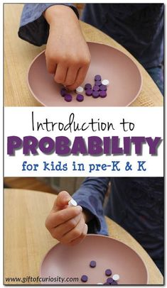 Learning math can be easy and fun with hands-on learning opportunities. This activity is a fun way to introduce young kids to the concept of probability. #handsonlearning #STEM #STEAM #giftofcuriosity || Gift of Curiosity