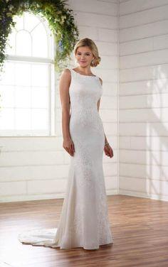 D2269 Classic Lace Applique Dress with Illusion Back by Essense of Australia