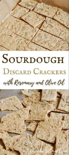 This is the easiest cracker recipe with the best results. Only four ingredients, 5 minutes of mixing and an hour of baking results in the crispiest most flavorful sourdough crackers ever! # Sourdough Discard Crackers with Rosemary and Olive Oil Sourdough Recipes, Bread Recipes, Real Food Recipes, Cooking Recipes, Starter Recipes, Sourdough Starter Discard Recipe, Uk Recipes, Gastronomia, Gourmet