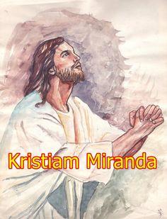 este es una acuarela sobre papel común y las letras en computadora, este cuadro le llamo el Cristo de la oración