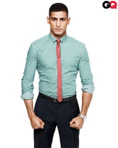 For any narrow-collar shirt, stick with trim or slim cuts. That way, you can lose the jacket and still look put-together.