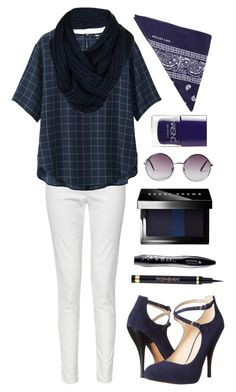 """""""Loving me With Blue"""" by spellrox ❤ liked on Polyvore featuring French Connection, Uniqlo, Nine West, Lancôme, Bobbi Brown Cosmetics, Nails Inc., Monki, Bench and NLY Accessories"""